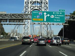 George Washington Bridge, New York, driving into Manhattan