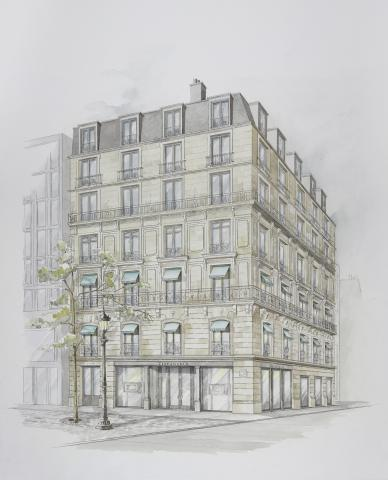 Artist rendering of Tiffany & Co.'s planned flagship store in Paris on the famous Champs Elysées.