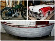 Some of the more unusual items for sale from the NYC opera include a motorcycle, car and boat.