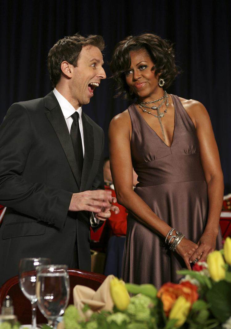 "Seth Meyers entertains Michelle Obama at the start of the annual White House Correspondents' Association dinner in Washington, D.C. in 2011. ""Saturday Night Live"" is preparing for his potential departure from the long-running comedy show."