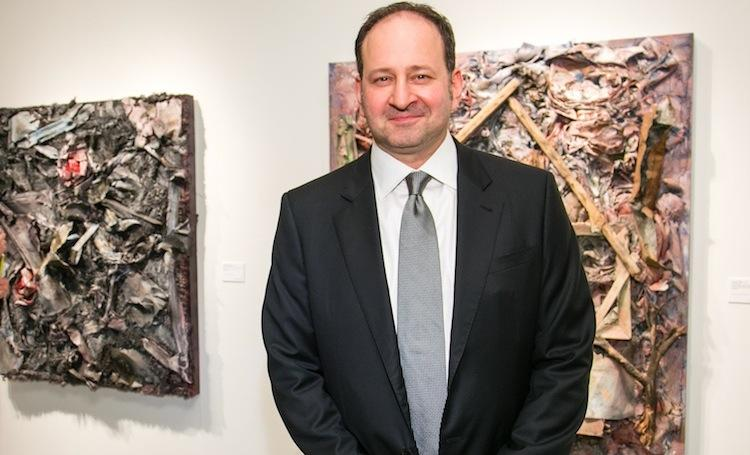 Andrew Edlin, the founder of Wide Open Arts, LLC., at last night's preview of the Outsider Arts Fair.