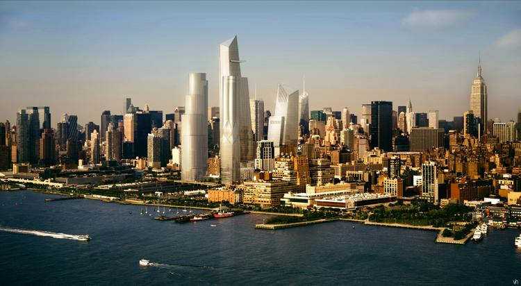 A rendering shows how the completed first phase of the Hudson Yards commercial development will look from across the Hudson River in New York, U.S., in this handout photo released to the media on Aug. 23, 2013.