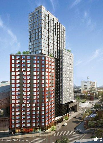 This artist's rendering depicts what will be the world's tallest prefabricated building, currently set for construction at Brooklyn's Atlantic Yards site.