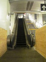 An escalator at the South Ferry subway station.