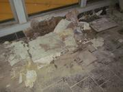 Floor damage at the South Ferry subway station.