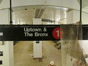 A sign for the 1 train at the South Ferry subway station.