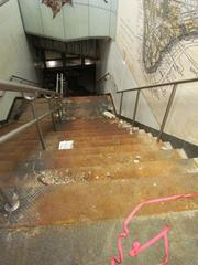 Damaged stairs at the South Ferry subway station.