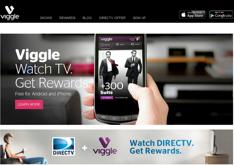 Users points when they check in with the Viggle app when they watch TV  shows, which can then be redeemed at retailers such as Best Buy, Amazon,  Fandango, Hulu Plus and iTunes.