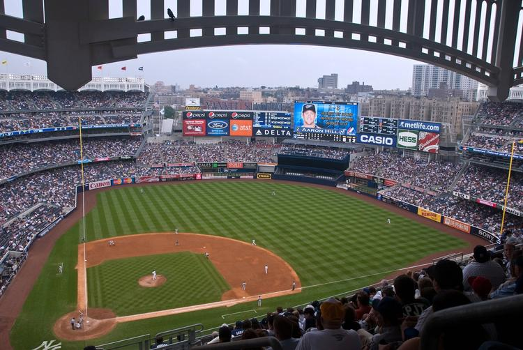Yankee Stadium, as viewed from the upper deck on the first-base side.