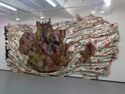 """""""They Finally Broke the Pot of Wisdom"""" (2011) by El Anatsui is shown in New York, U.S., on Thursday, Jan. 3, 2013. The work measures approximately 11.4 feet by 22.6 feet when installed, but the dimensions can vary."""