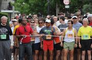 Runners gather at the starting line.