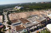 The bulk of the new construction is visible between Downtown Disney West Side and the Team Disney building.
