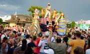 The parade floats stop at Cinderella Castle where everyone is invited into the street for the dance party.