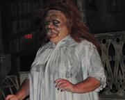 A scare-actor greets guests into the Dead End House, an original creation made for Halloween Horror Nights 2012.