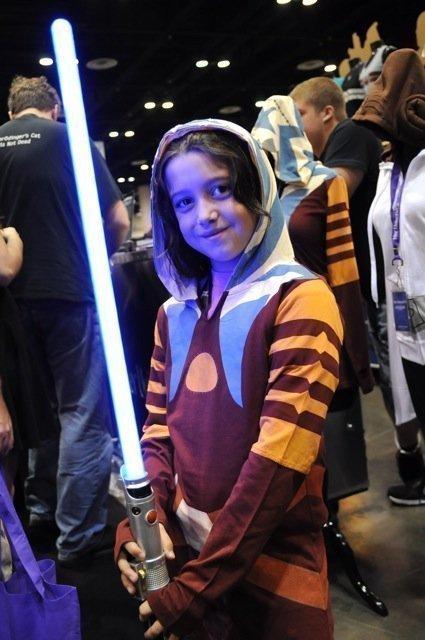 Star Wars fan Alyssa Watts of Virginia wears a girls hoodie from the Her Universe clothing line for women.