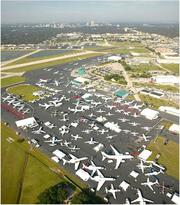 Overhead view of the aircraft display at Showalter Flying Service during a previous convention.