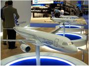 A model of an Airbus plane on display at a previous National Business Aviation Association convention.