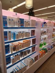 The revamped Walgreens stores have expanded beauty sections that include a kiosk with someone to help you shop for products.
