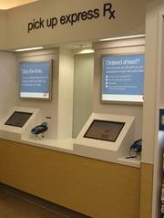 Customers can order prescriptions online and pick them up at the Express Rx counters.