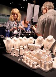 Convention guests found a diverse selection of offerings in the exhibitor room, such as a jewelry collection by the TK Design Company.