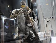 A stop-motion model of Luke Skywalker on a tauntaun from Empire Strikes Backon display inStar Wars: Where Science Meets Imaginationat Orlando Science Center.