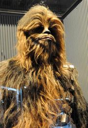 Detail of a Chewbacca costume from the original Star Wars trilogyon display inStar Wars: Where Science Meets Imaginationat Orlando Science Center.