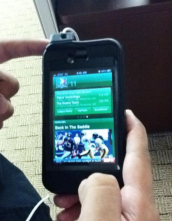 Photo of Richard Bilbao's iPhone, taken with Kristen Stieffel's iPad.