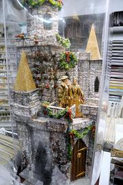 A miniature castle, complete with a king and queen.