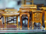 Detail of some hand-crafted wood furnishings