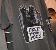 Everyone can use a hug, in some way, as this t shirt points out in the exhibitor hall at Star Wars Celebration 6.