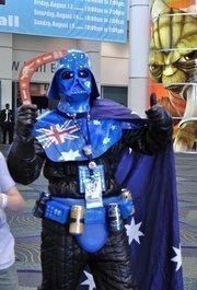 An Australian Star Wars fan showed his pride in a custom Darth Vader costume.