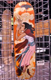 A display of Star Wars inspired skate deck designs showed the diversty of inspiration that the franchise has had on the fan community.