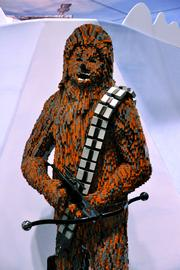 A life-sized Chewbacca made of Legos was on display on the exhibitor floor.