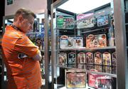 Displays of Star Wars toys from the 1970s through the latest collections were on display at the Hasbro booth.