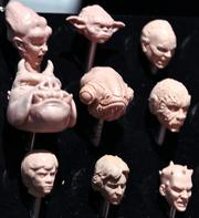 A display of action figure head sculpts gave a behind the scenes look at Star Wars toy production at the Hasbro booth.