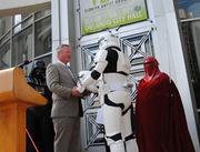 Mayor Dyer receives his honorary induction to the 501st Legion and his Stormtrooper helmet.
