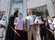 Mayor Dyer enjoys more photo ops with the 501st Legion in front of Orlando City Hall.