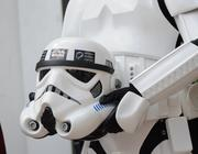 A member of the 501st Legion holds a Stormtrooper helmet to be presented to Mayor Dyer during the induction ceremony.