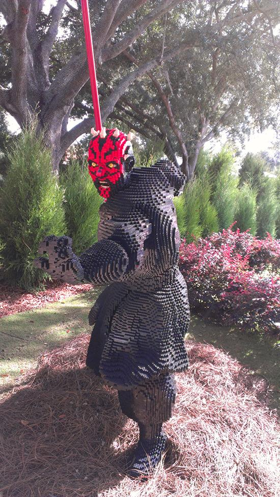 A lifesize Lego model of Darth Maul, from the Star Wars films.