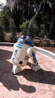 A lifesize Lego model of R2D2, from the Star Wars films.