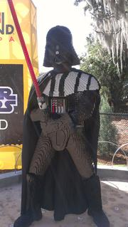 A lifesize Lego model of Darth Vadar, from the Star Wars films.