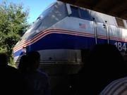 The Amtrak train makes its appearance at the DeLand platform for the SunRail sneak peek ride.