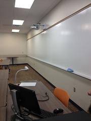 Classrooms feature huge white board space and other high tech features, like interactive projectors.