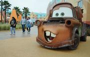 Characters from the movie Cars decorate the areas around Disney's Art of Animation resort.