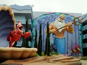 Characters from The Little Mermaid are featured in the courtyards of Disney's Art of Animation Resort.