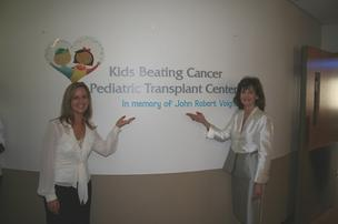 Marla Silliman, Florida Hospital, and Margaret Guedes, Kids Beating Cancer at the new Kids Beating Cancer Transplant Center at Florida Hospital for Children. Patients will move into a new eight-bed pediatric bone marrow and stem cell transplant unit next