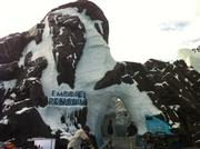 The completed entrance for Empire of the Penguin, Antarctica's feature attraction.