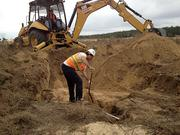 The dig can go down as far as 15 or 20 feet, creating a mini-canyon about 35 feet wide.