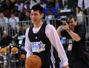 New York Knicks rookie star Jeremy Lin at practice for the BBVA Rising Stars Challenge at Orange County Convention Center on Friday.