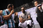OBJ reporter Richard Bilbao interviews LeBron James at Orange County Convention Center on Friday.